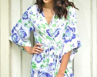 Bridesmaid Robe, Short Kimono Robe UN-LINED - Peony Monaco BLUE