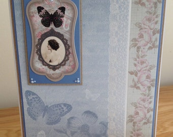 Birthday Card. Thank You Card. Get Well Card.  Ladies or Girls Shabby Chic Card With Antique Photo and Butterfly and Mother Of Pearl Foiling
