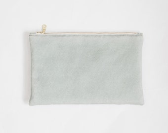 Mint Vegan Suede Leather Clutch