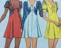 Mini Dress w Collar and Shaped Bodice Micro Mini Boho Dress - 1970's Vintage Sewing Pattern Simplicity 5499 Cut Size 10 Bust 32.5""