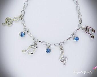 Music Note Charm Bracelet, Quaver, Semiquaver, Blue crystal drops, music bracelet for girls who LOVE music