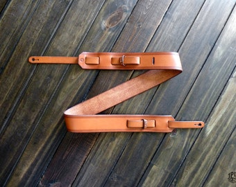 "Custom Leather Guitar Strap  - Vintage Style - Handmade Guitar Strap - 2"" - Acoustic Guitar - Electric Guitar - Bass Guitar - Dobro - Music"