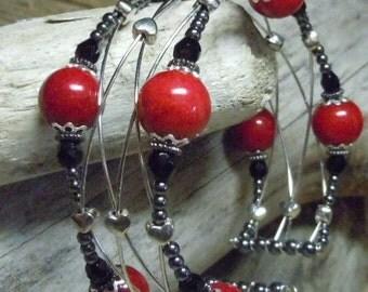 "Woven Wire Red Mountain ""Jade"" Stone Bead Black Silver Heart Hematite Cuff Bracelet"