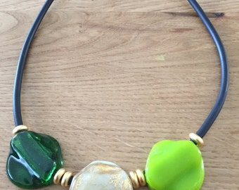 Green Fused Glass 3 Beads Necklace