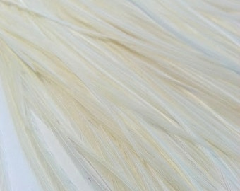 5 long rooster feathers, cream feather, rooster saddle, hair extension, craft supply, fly fishing feather