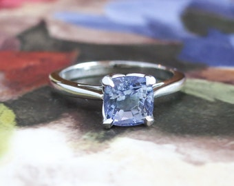 SOLD----Installment 5of6 Due 7/16----Estate Cushion Cut Tanzanite Solitaire Engagement Wedding Anniversary Stacking Ring Platinum