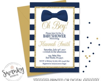 Oh Boy Baby Shower Invitation, Bowtie Baby Boy Shower, Navy and Gold Invitation, Striped Baby Shower Invitations, Gold Glitter
