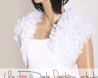 Bridal cover up/ fluffy ruffles shrug / jacket /wedding bolero