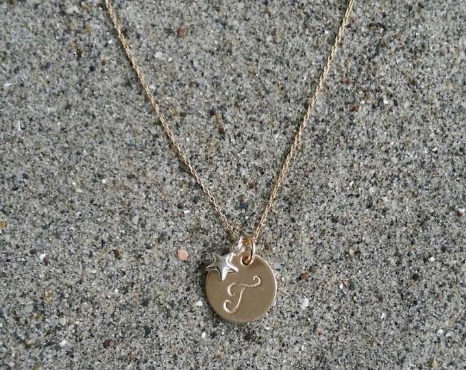 Monogram Necklace, Gold Necklace, Star Necklace, Sterling Silver Star, Initial Necklace, Star Initial Necklace