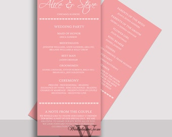 Blush Pink Wedding Programs, Ceremony Programs, Pale Pink, Romantic, Elegant - DEPOSIT