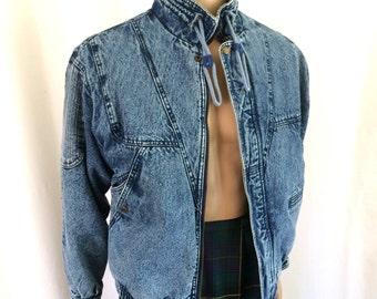 1980s Acid Wash Denim Jacket Men's Sz M