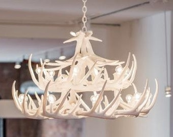 The shabby antler by theshabbyantler on etsy faux antler chandelier white antler chandelier w24 large antler chandelier antler lighting mozeypictures Image collections
