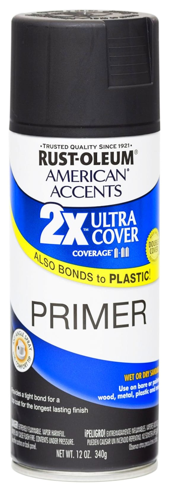 Flat Black Color Primer Ultra Cover 2x Primer Spray 12 Oz