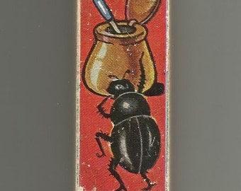 Vintage Wood Alphabet Block - Letter I - Illustrated Childrens INK INSECT Altered Art Supply