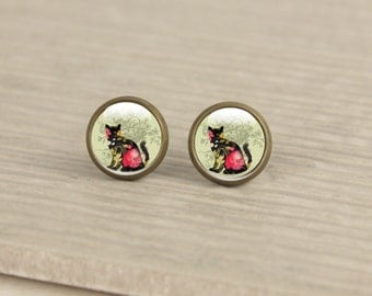 Cat Stud Earrings - Glass Cat Earrings Studs  (cat 54)