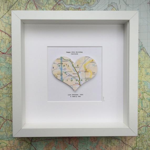 Map heart artwedding giftpaper heart artlarge map heart ...