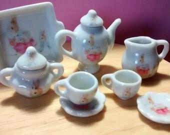 Dolls house miniature Peter Rabbit ceramic Tea Set