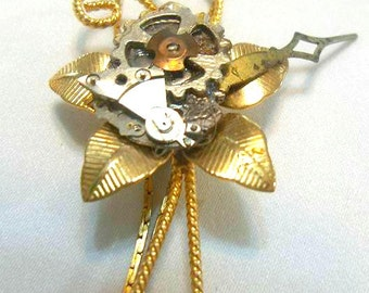 Steampunk Flower Necklace Vintage Watch Parts Brass Gears woman teen jewelry OOAK gift ideas NGA14 Industrial gamer fantasy