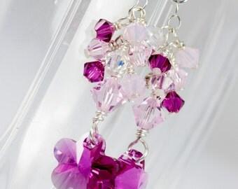 Swarovski Crystal Pink Flower earrings, Sterling Silver earrings, Swarovski earrings, Pink and Clear Earrings, Handmade Earrings