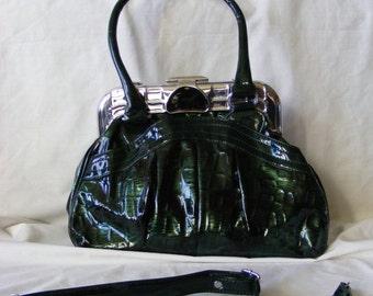 Vintage Green Handbag - RARE - 1950's - Vinyl - Lots of pockets - very highend