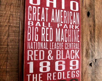 Cincinnati Reds Baseball Distressed Wood Sign--Great Father's Day Gift!