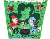 Saint Patrick's Day / Vintage Irish Coffee Tea Towel / Ireland Souvenir / Linen / Wall Hanging / Leprechaun Mushroom