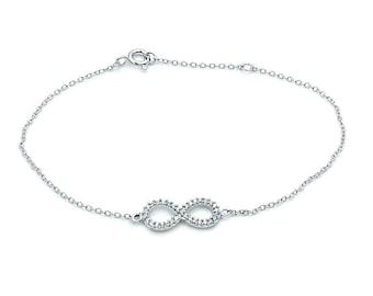 Celebrity Style Infinity Bracelet CZ & Sterling Silver Bracelet, Z473 The Silver Plaza