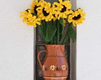 Flower knitting pattern, Knitting pattern for sunflowers, Knitted flowers,  Floral display, Sunflower display, Digital download pdf