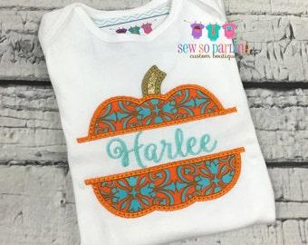 Baby Girl Halloween Outfit -Baby Girl Pumpkin Halloween Shirt -  Pumpkin shirt - Halloween clothes
