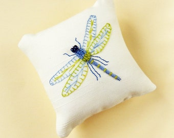 Dragonfly, Hand Embroidered, Mini Pillow / Pincushion. Home Decor Gift