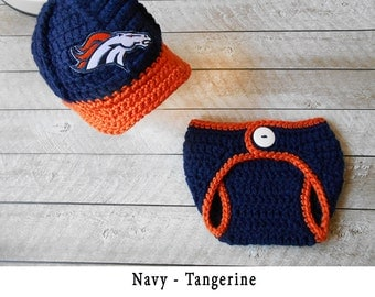 Baby Boy Clothes, Newborn Baby Boy Outfit, Baby Boy Denver Broncos Take Home Outfits, Newborn Baby Boy Outfit - Baby Hat