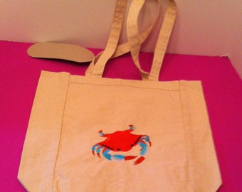 Embroidered Crab Canvas Tote