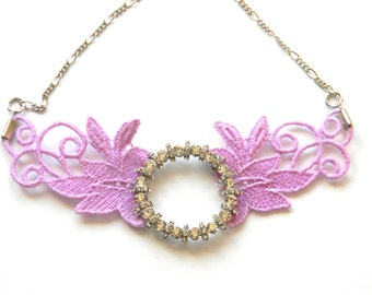 Antique Victorian Lace Necklace with Rhinestones