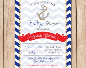 Nautical Neutral Baby Shower Invitation - Sailor, Anchor, Boy or Girl - 1.00 each printed or 12.00 DIY file