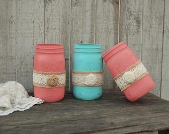 Mason Jars, Shabby Chic, Coral, Aqua, Painted Mason Jars, Distressed, Burlap, Rustic, Country, Beach, Wedding Decor, Vase, Organization