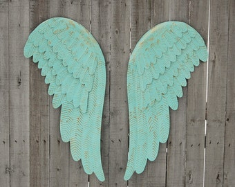 Aqua Wall Decor angel wings wall decor shabby chic aqua gold hand