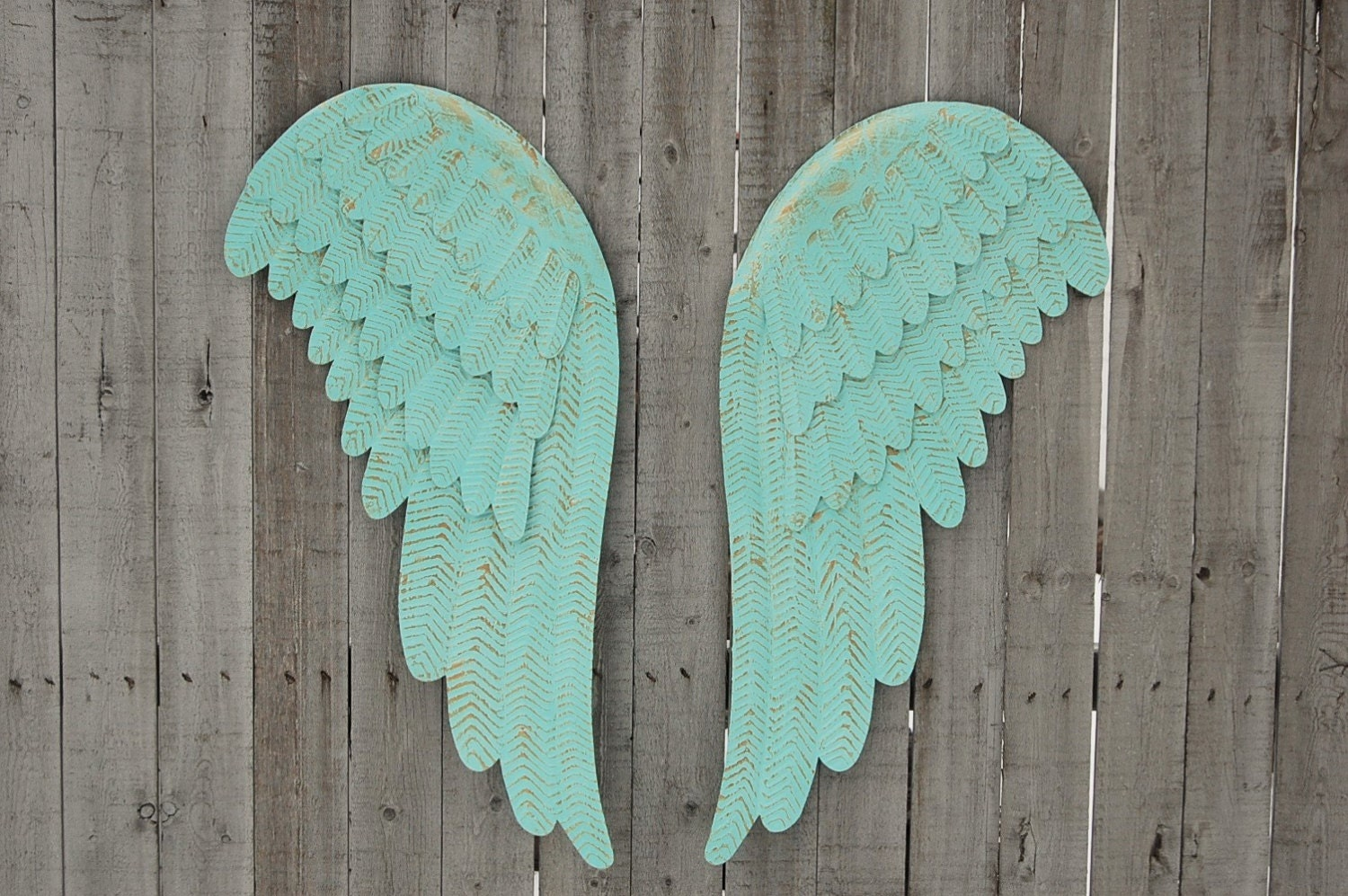 Metal angel wings wall decor large shabby chic mint green for Angel wall decoration