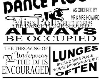 dance floor rules | etsy