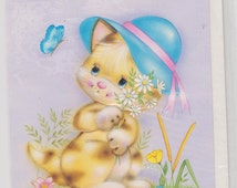 Vintage Birthday Card 1970s  Birthday Wishes Lovely Graphic Cute Ginger Kitten wearing hat. Original 70s card Unused