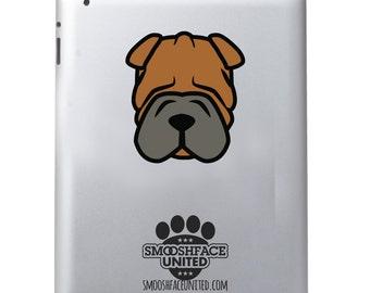 Shar Pei decal - dog car vinyl sticker - Shar Pei wrinkle love - Shar Pei sticker decal