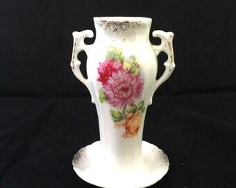 Antique Porcelain Hat Pin Holder with Handles, Pink Flower Hatpin Holder Ring Catcher, Dressing Table, Ring Holder Edwardian Hat Pin Holder