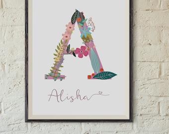 Personalize wall art monogram printable calligraphy nursery art Child Wall Art