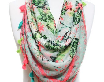 Neon Plant Printed Tassel Scarf So Soft Lightweight Spring Summer  Celebrations Women Fashion Accessory Wrap Mother's Day Gifts For Her Mom