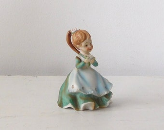 Little Girl Figurine Lefton Flower Petals Green Dress Vintage Collectible