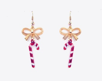 Candy Cane Bow Earrings, Holiday Earring, Christmas Earrings, Candy Cane Earrings, Dangle Earrings, Bow Earring, Holiday Jewelry, Candy Cane