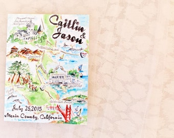 Custom Watercolor Wedding Map/ City Map/Save the Date
