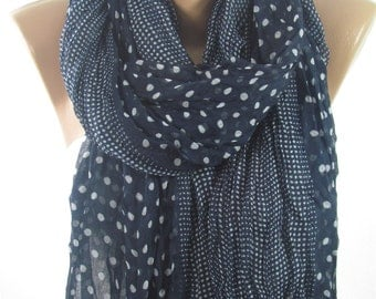 Navy Scarf Shawl Polka Dots Scarf Crinkle Cowl Scarf Fall Winter Spring Scarf Women Fashion Accessories Christmas Gifts For Her For Mom