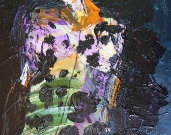 DARK FLORAL DRESS - Original Oil Painting - Modern Art - Contemporary Art -  Fashion Painting