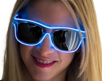 Rayban Wayfarer Inspired, Sunglasses, Glow in the Dark, Light Up, Rave Wear, Tron, Costume, LED