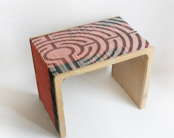 Illusion table modern home design geometric black white orange green paper mache hardboard eco friendly furniture recycle art modern space